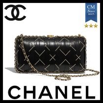 CHANEL Calfskin 2WAY Chain Leather Party Style Elegant Style
