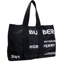 Burberry Burberry Belt Detail Horseferry Print Tote Black #8014547