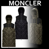 MONCLER Casual Style Nylon Street Style Plain Long Office Style