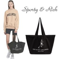 Sporty & Rich Unisex Street Style Plain Logo Totes