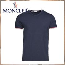 MONCLER Street Style V-Neck Cotton Short Sleeves Logo