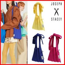 JOSEPH&STACEY Casual Style Blended Fabrics Plain Logo Totes