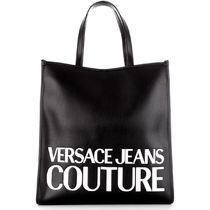 VERSACE JEANS Casual Style A4 Bi-color Plain Elegant Style Logo Totes