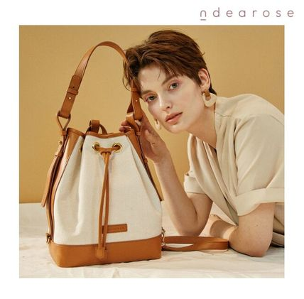ndearose Shoulder Bags Casual Style Canvas 2WAY Plain Leather Crossbody