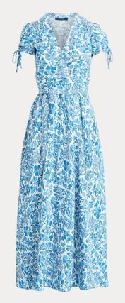 Wrap Dresses Flower Patterns Casual Style Maxi A-line Flared