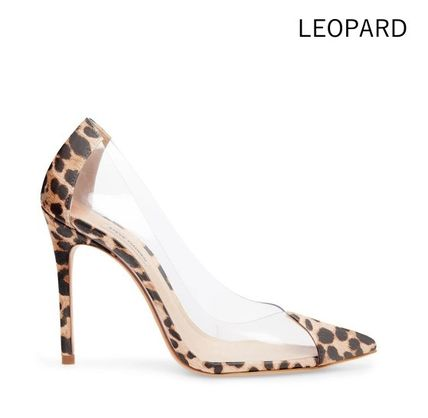Leopard Patterns Casual Style Leather Pin Heels Party Style