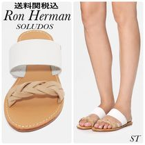Ron Herman Open Toe Rubber Sole Casual Style Street Style Plain Leather