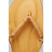 Ance Studios Open Toe Round Toe Rubber Sole Casual Style Plain Leather