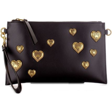 Heart Casual Style Blended Fabrics Studded 2WAY Bi-color