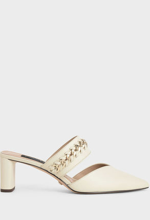 Charles&Keith Mules Bridal Casual Style Chain Plain Leather Block Heels