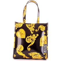 VERSACE JEANS Casual Style Elegant Style Logo Totes
