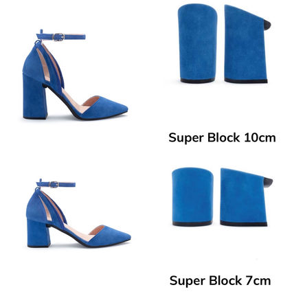 Platform Casual Style Leather Pin Heels Block Heels