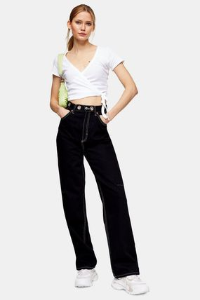 Denim Bi-color Plain Cotton Long Jeans