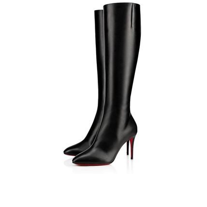 Christian Louboutin Plain Toe Plain Leather Pin Heels High Heel Boots