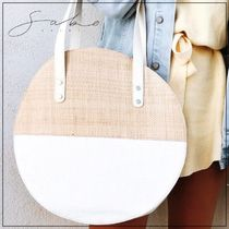 SABO SKIRT Blended Fabrics Plain Straw Bags