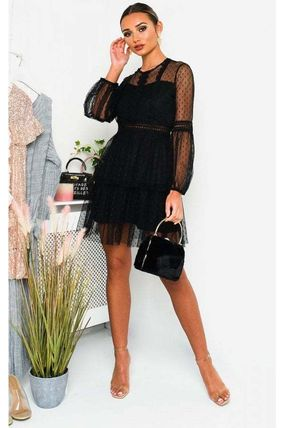 Dots Long Sleeves Party Style Lace Sheer Dresses