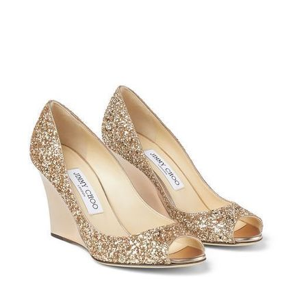 Jimmy Choo Glitter Metallic Open Toe Casual Style Party Style