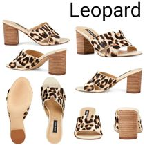 Nine West Leopard Patterns Open Toe Casual Style Plain Block Heels