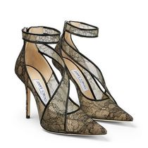 Jimmy Choo Flower Patterns Collaboration Leather Pin Heels Party Style