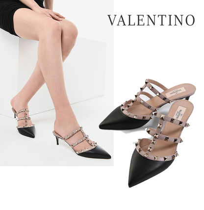 VALENTINO Wedge Street Style Leather Party Style Footbed Sandals