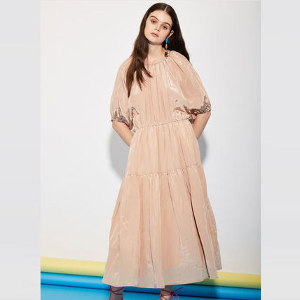 Casual Style Flared Cropped Elegant Style Dresses
