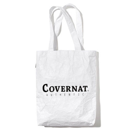 Unisex Canvas Street Style A4 2WAY Plain Logo Shoppers