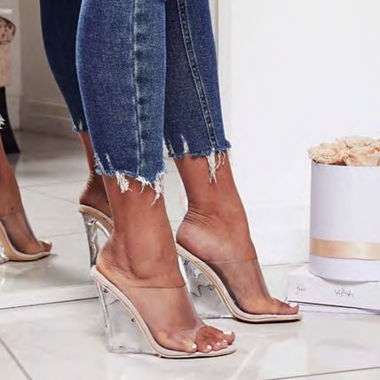 Open Toe Casual Style Suede Plain Party Style Mules
