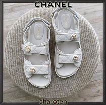 CHANEL ICON Open Toe Rubber Sole Casual Style Plain Leather Party Style