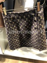 Louis Vuitton Monogram A-Line Wool Silk Mini Skirt