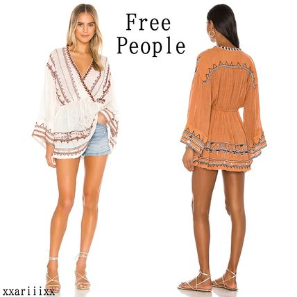 Free People Long Sleeves Cotton Medium Tribal Dark Brown Puff Sleeves