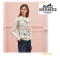 HERMES Crew Neck Cashmere Silk Long Sleeves Cashmere