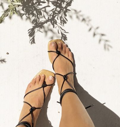 Open Toe Lace-up Casual Style Plain Party Style