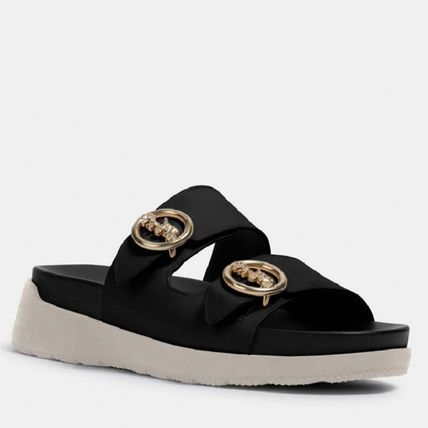 Coach Open Toe Platform Casual Style Faux Fur Leather Slippers