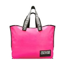 VERSACE JEANS Casual Style Bi-color Logo Totes