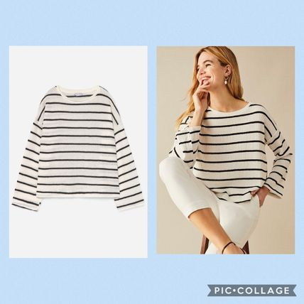 Stripes Casual Style U-Neck Long Sleeves Medium