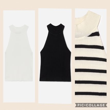 Stripes Casual Style Sleeveless Plain Tanks & Camisoles