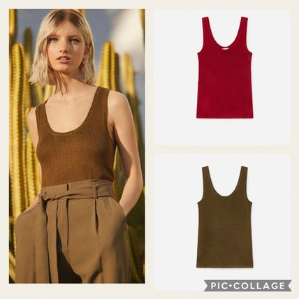 Casual Style Sleeveless Plain Tanks & Camisoles