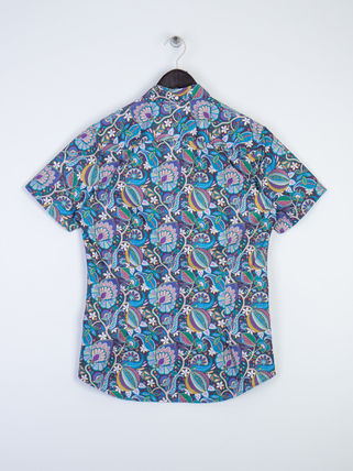 Button-down Flower Patterns Cotton Short Sleeves Shirts