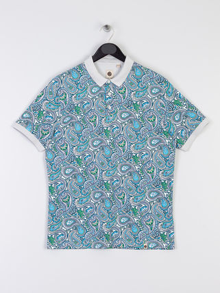 Button-down Paisley Cotton Short Sleeves Shirts