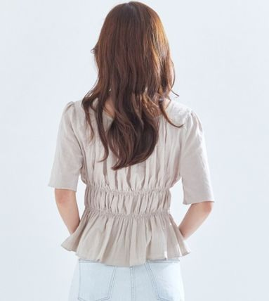 Short Casual Style Cropped Cotton Medium Short Sleeves