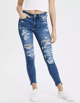 American Eagle Outfitters Blended Fabrics Street Style Plain Cotton Logo Jeans