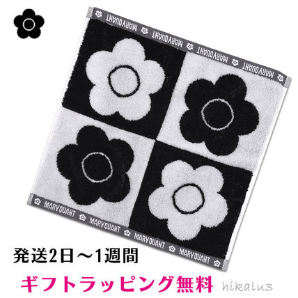 MARY QUANT Flower Patterns Unisex Cotton Logo Handkerchief