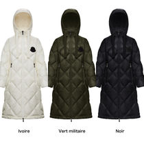 MONCLER Unisex Plain Long Logo Down Jackets