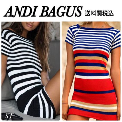 Short Stripes Casual Style Tight Street Style Cotton