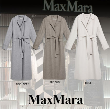 MaxMara Casual Style Wool Blended Fabrics Plain Long Angola