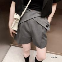 Short Casual Style Street Style Plain Cotton Medium