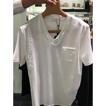 PRADA Street Style V-Neck Plain Cotton Short Sleeves Logo Luxury