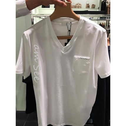 PRADA Logo Luxury V-Neck Plain Cotton Short Sleeves Street Style