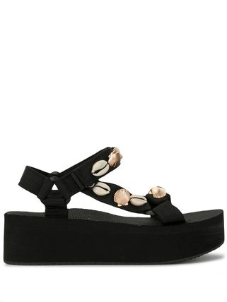 Open Toe Platform Rubber Sole Casual Style Blended Fabrics