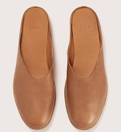 Round Toe Casual Style Plain Leather Mules Flats